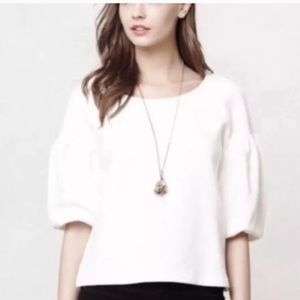 Anthropologie White Top with Puffy Sleeves